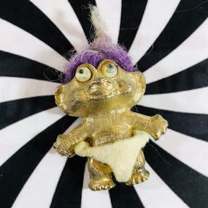 Vintage 70's Troll Doll Gold-tone lavender hair
